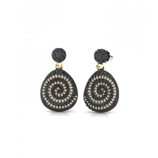 Pendientes de plata con detalles de oro 18K, adornados con espinelas negras y circonitas de color champán.