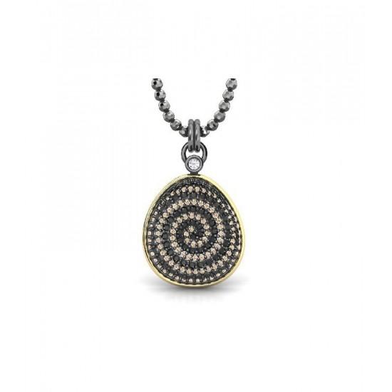 Colgante de plata, espinelas negras y circonitas de color champan con cadena ajustable.