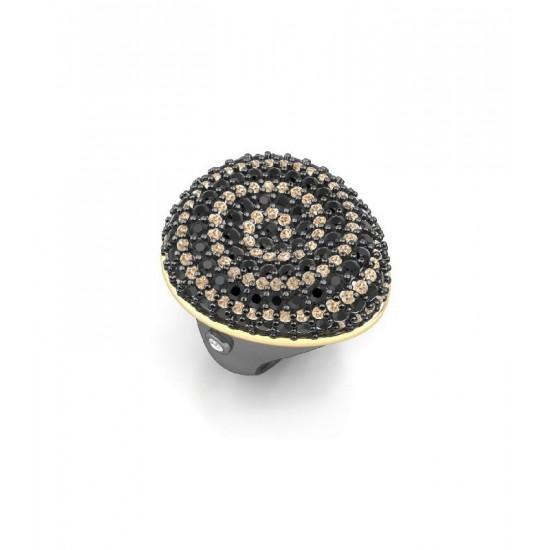 Sortija de plata Universo Infinito con circonitas de color  champán y espinelas negras.