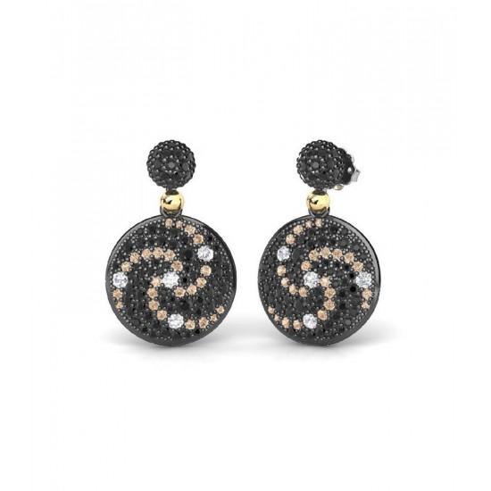 Pendientes de plata con detalles de oro 18K, adornados con zafiros blancos Lab, espinelas negras y circonitas de color champán.