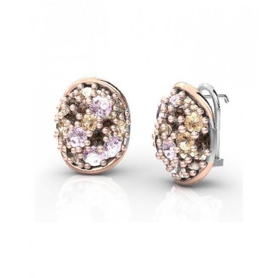 Pendientes de plata con detalles de oro 18K, adornados con piedras CZ de color champán, marrón y rosa.