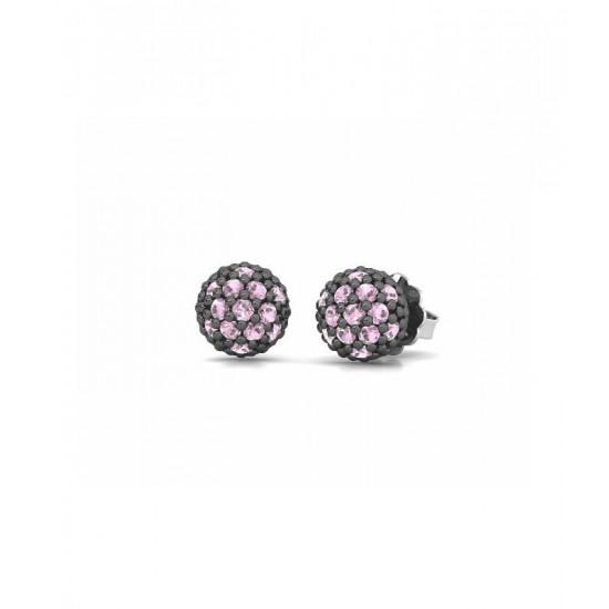 Pendientes pequeños de plata, adornados con circonitas de color rosa.