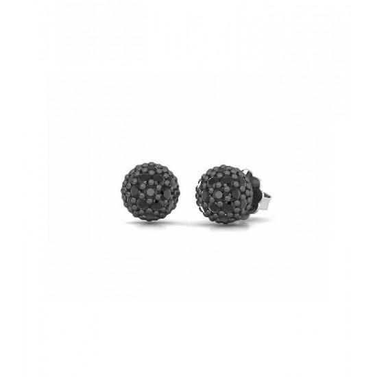 Pendientes pequeños de plata, adornados con espinelas negras.