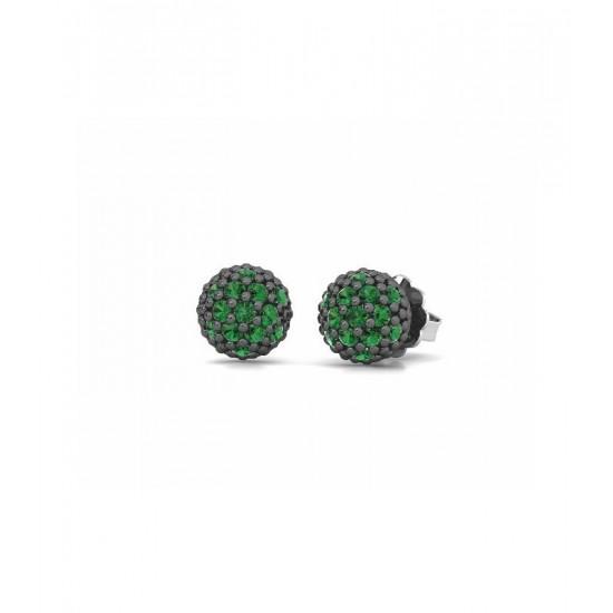 Pendientes pequeños de plata, adornados con circonitas de color verde.
