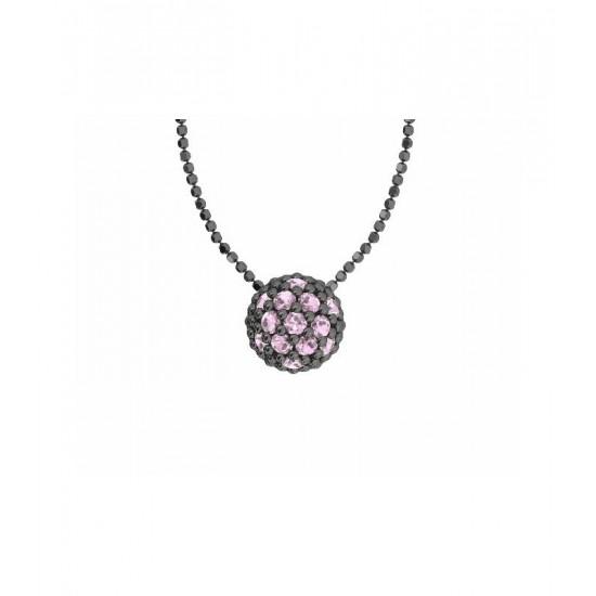 Colgante de plata y circonitas de color rosa con cadena. Colección Play Color de la firma Bohemme.