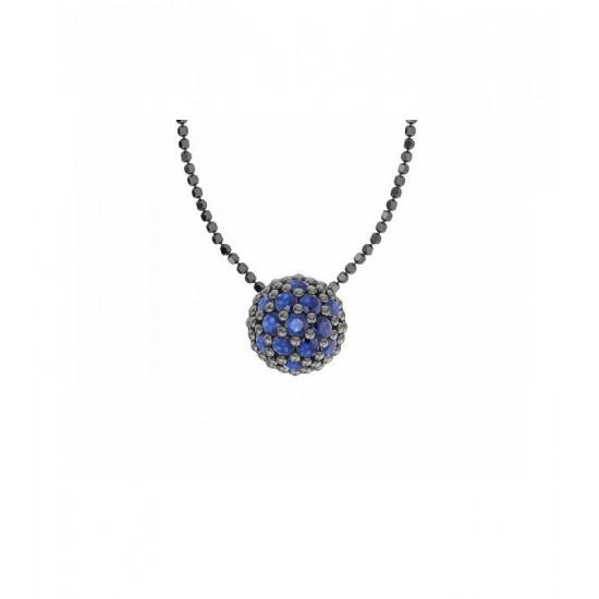 Colgante de plata y circonitas de color zafiro con cadena. Colección Play Color de la firma Bohemme.