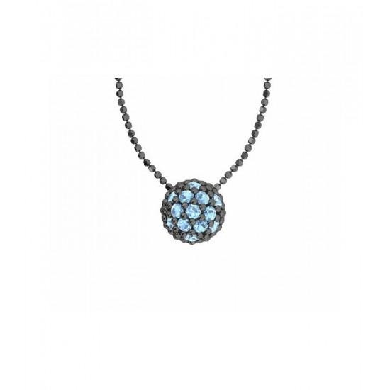 Colgante de plata y circonitas de color turquesa con cadena. Colección Play Color de la firma Bohemme.