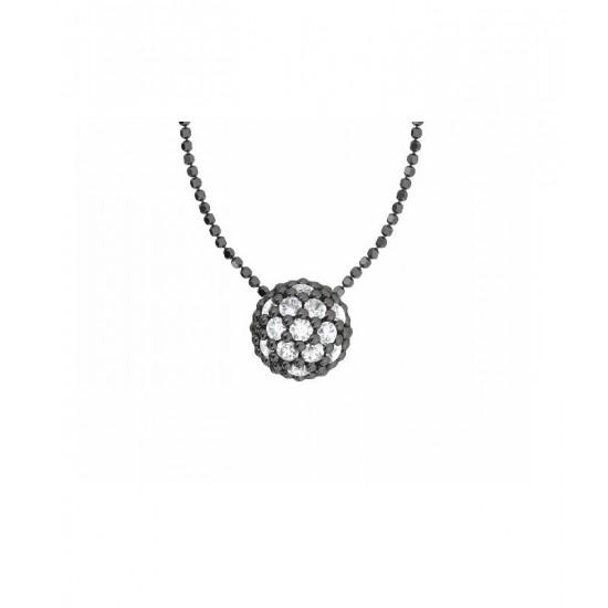 Colgante de plata y circonitas blancas con cadena. Colección Play Color de la firma Bohemme.