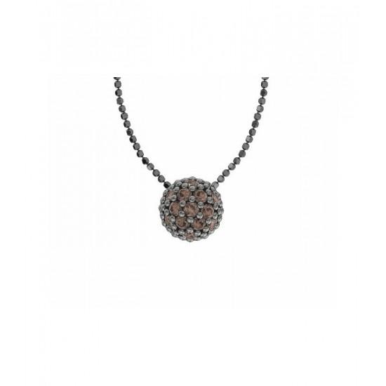 Colgante de plata y circonitas marrones con cadena. Colección Play Color de la firma Bohemme.