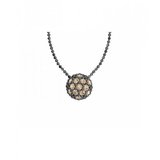 Colgante de plata y circonitas de color champagne con cadena. Colección Play Color de la firma Bohemme.