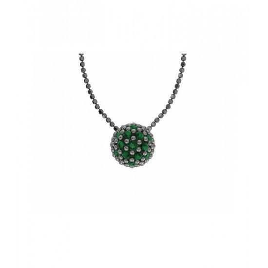 Colgante de plata y circonitas verdes con cadena. Colección Play Color de la firma Bohemme
