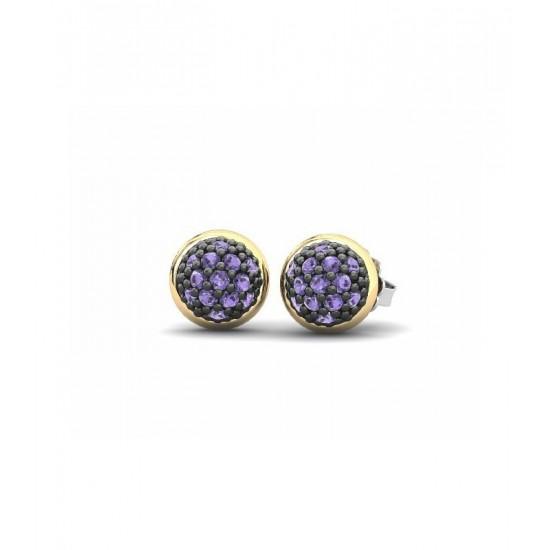 Pendientes pequeños de plata con detalles de oro 18K, adornados con circonitas de color violeta.