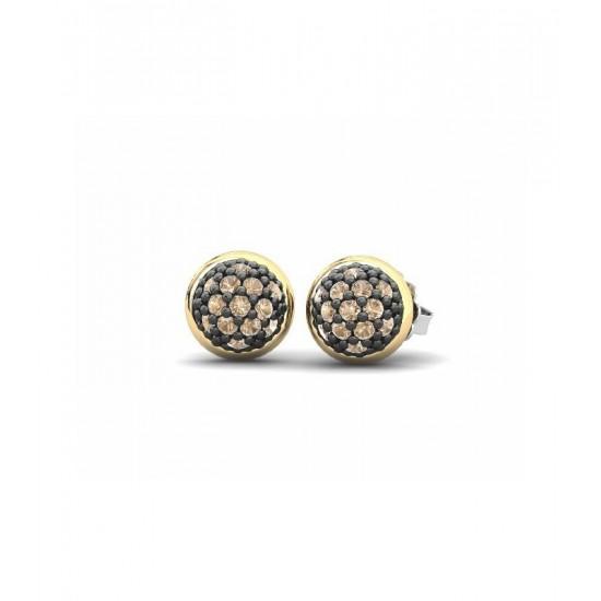 Pendientes pequeños de plata con detalles de oro 18K, adornados con circonitas de color champán.