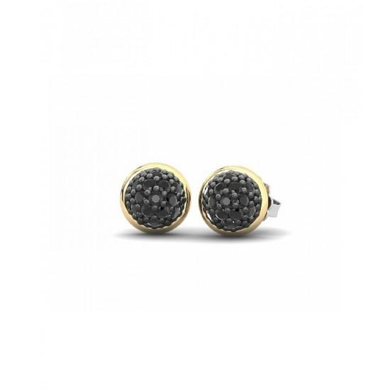Pendientes pequeños de plata con detalles de oro 18K, adornados con espinelas negras.
