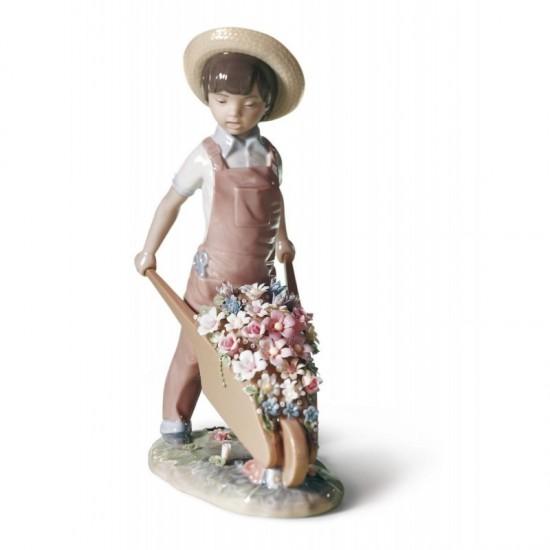 Figura de porcelana de Lladró Carretilla con flores