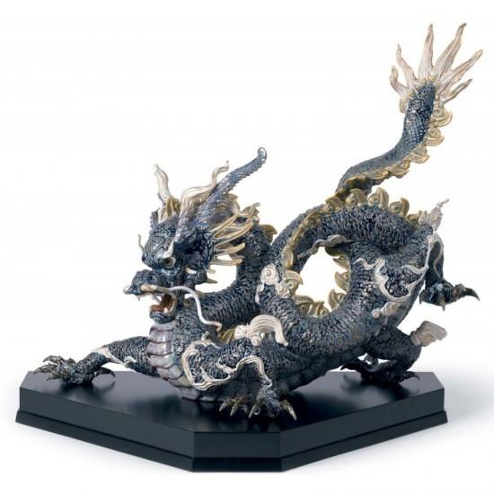Figura de porcelana Lladró Gran Dragón (azul y dorado)