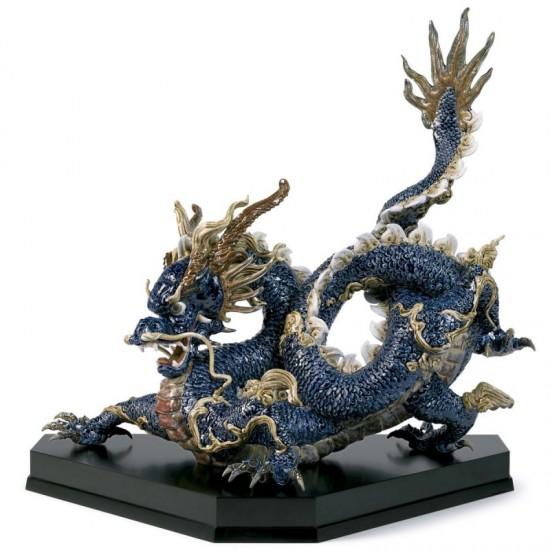 Figura de porcelana Lladró Gran Dragón (azul esmaltes)