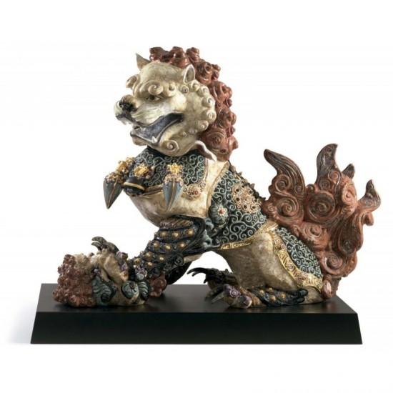 Figura de porcelana de Lladró León guardián (rojo)