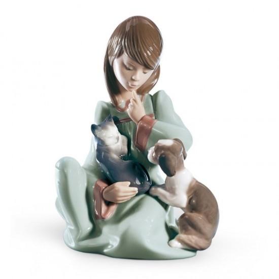 Figura de porcelana de Lladró Gatito en el regazo