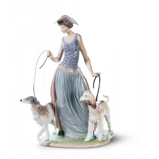 Figura de porcelana de Lladró Dama con perros