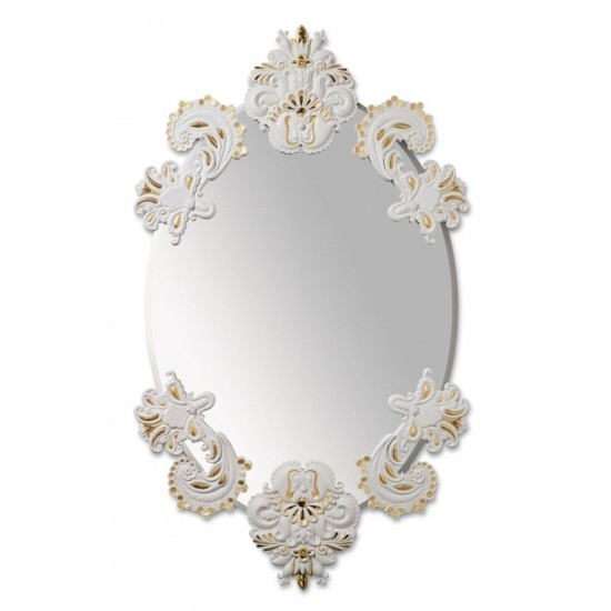 Espejo oval sin marco (blanco / oro)