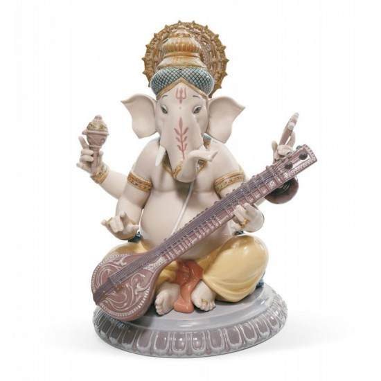 Figura de porcelana de Lladró Ganesha con veena