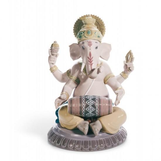 Figura de porcelana Lladró Ganesha con mridangam