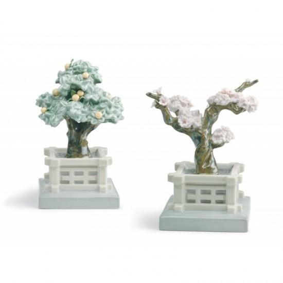 Figura de porcelana Lladró  Macetas japonesas (mandarino y cerezo)