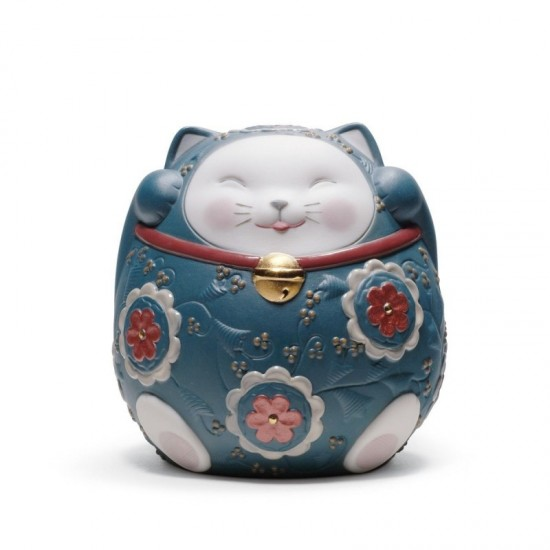 Figura de porcelana Lladró  Maneki Neko II (azul)