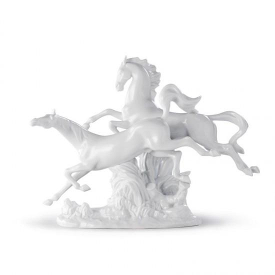 Figura de porcelana de Lladró Caballos al galope (blanco)