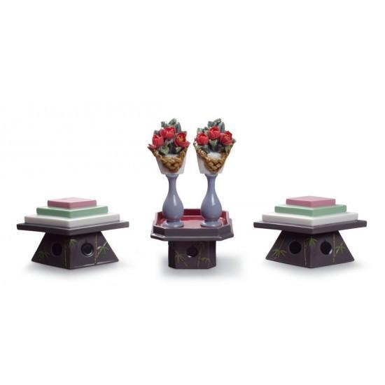 Mesas para dulces y flores de melocotón