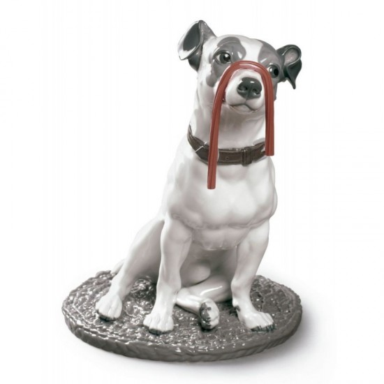Figura de porcelana de Lladró Jack Russell con regaliz