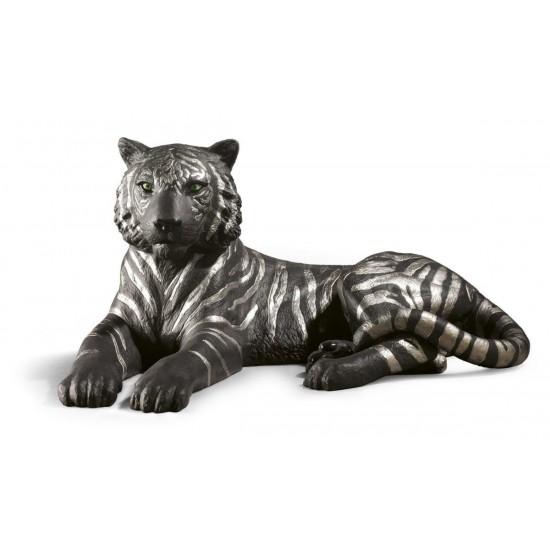 Figura de porcelana de Lladró Tigre (negro-plata)