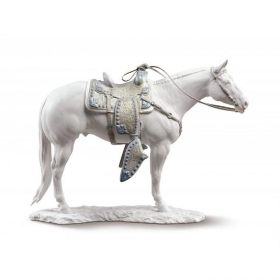 Figura de porcelana de Lladró Quarter Horse blanco