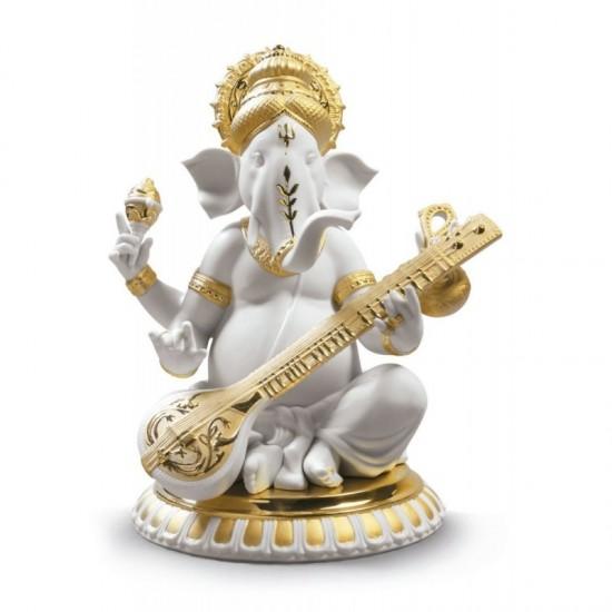 Ganesha con Veena (Re-Deco dorado)