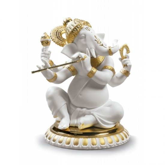 Ganesha con Bansuri (Re-Deco dorado)