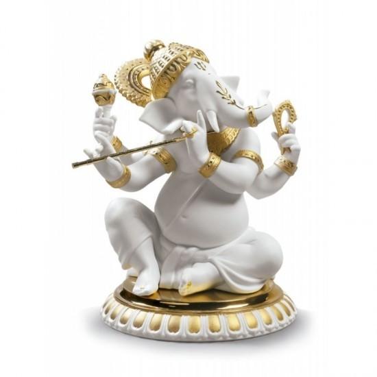Ganesha con Bansuri (Re-Deco dorado)