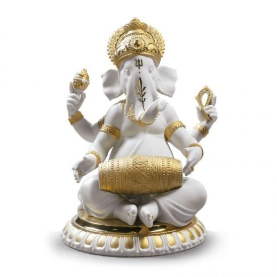 Ganesha con Mridangam (Re-Deco dorado)