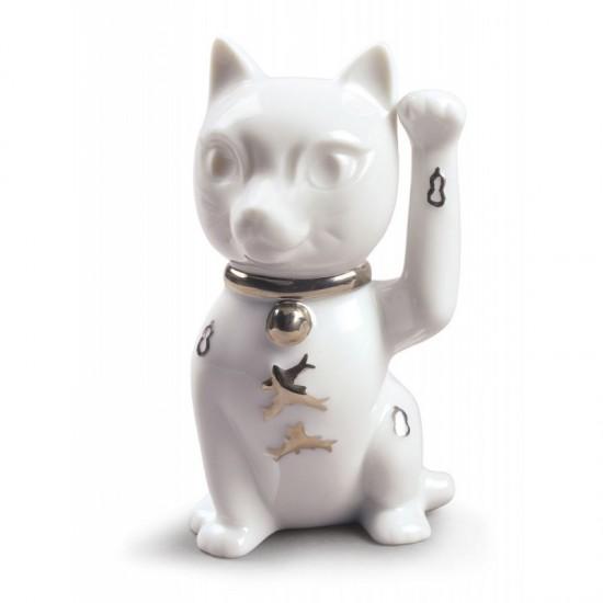 Figura de porcelana Lladró Maneki Neko (blanco-plata)