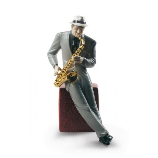 Figura de porcelana de Lladró  Saxofonista de Jazz