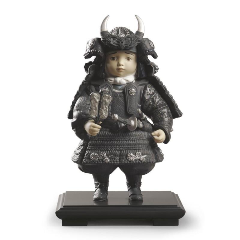 Figura de porcelana Lladró Niño Samurai (plata)