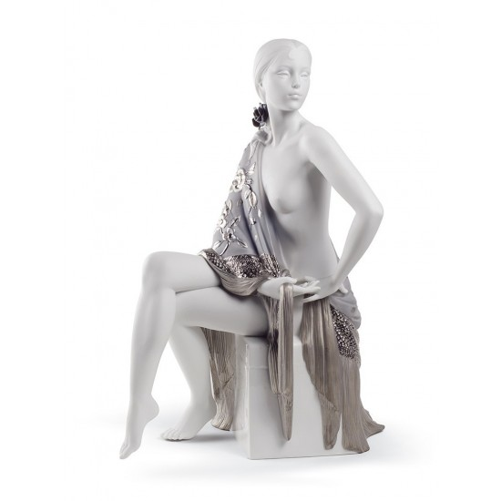 Nude with Shawl Woman Figurine. Silver Lustre