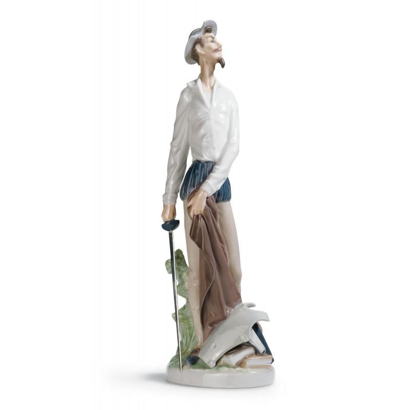 Figura de porcelana de Lladró Don Quijote Erguido (Blanco)
