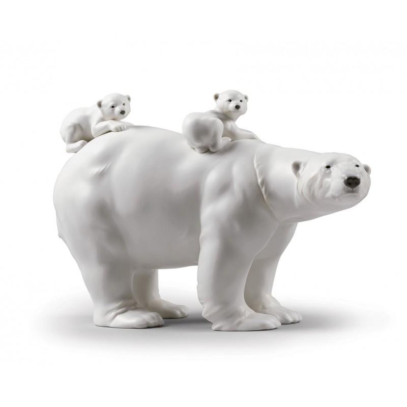 Figura de porcelana de Lladró Mamá osa y sus bebés