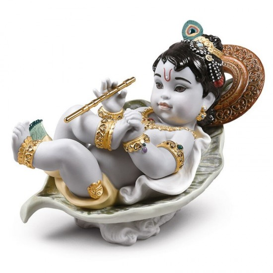 Figura de porcelana Lladró Krishna on leaf