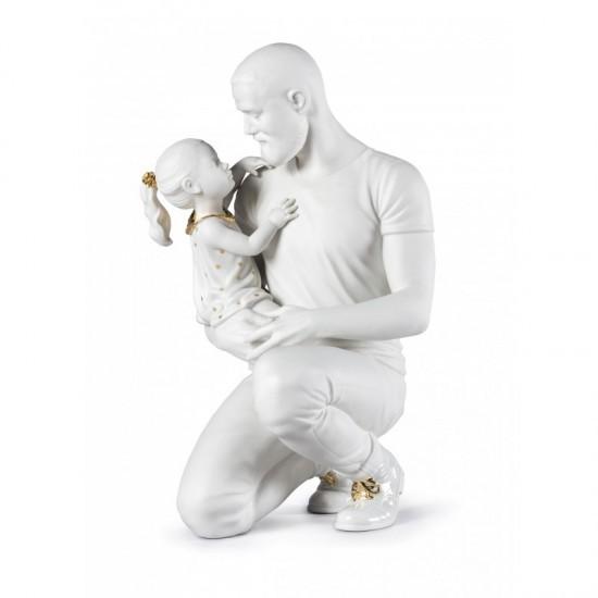 En los brazos de papá (blanco-oro)