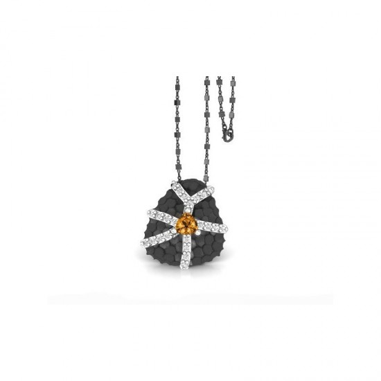 Colgante de plata con detalles de oro amarillo, con citrinos y zafiros blancos. El colgante cuanta con una cadena.