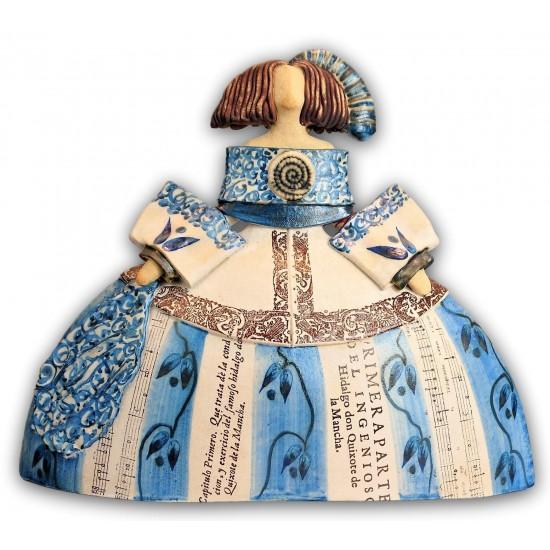 Figura cerámica Menina con vestido azul de Rosa Luis Elordui