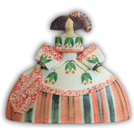 Figura de cerámica Menina de Rosa Luis Elordui, modelo M-1 Vestido Rojo