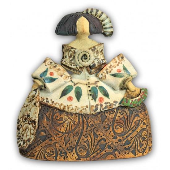 Menina de cerámica de Rosa Luis Elordui M-9 Vestido Bronce
